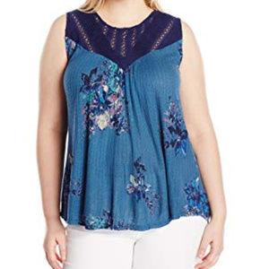 Lucky Brand Floral Print Crochet Tank Top